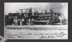 Primera Locomotora Construida en la Rpública Mexicana.- Julio de 1913.- Fondo Archivo General Municipal