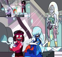 xD Switcharoo. This is actually ans awesome AU. Garnet is replaced Opal, Amethyst with Ruby, and Pearl with Sapphire. COMMENCE FANART!!