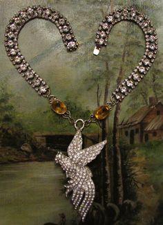 Antique bird necklace paste rhinestone by madonnaenchanted on Etsy