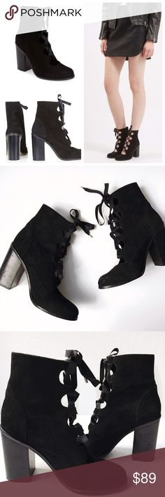 """➡️Topshop Magpie Ghillie Lace Up Boots⬅️ Grosgrain ghillie laces cinch up an of-the-moment boot shaped from smooth nubuck leather. An almond toe and tall, block heel further the Victorian-inspired look. Worn once.  3 1/2"""" heel. 5"""" boot shaft. Lace-up style. Leather upper/leather and synthetic lining/synthetic sole. Made in Spain. Topshop Shoes Heeled Boots"""