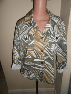 New to ebay! Additions by Chicos Womens 1 Cotton Spandex Button Down Palm Leaves Jacket Coat