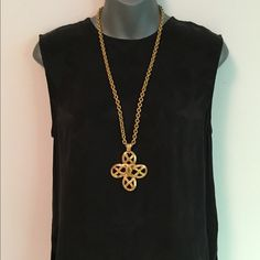 """Authentic Chanel Gold 'CC' Floral Motif necklace. Authentic Chanel. Large floral motif pendant with classic """"CC"""" logo in centre. Cable style chain measure 30"""" in total length, with a 15"""" drop. The two small circular chain fastenings (at the end of the chain) appear to have been replaced & there is a tiny dent in one of the replacement ring fastenings, barely visible in the photos and not visible when wearing the pendant.  Pendant measures 3"""" x 3"""" x 0.5"""". Small stamp on the back reads…"""