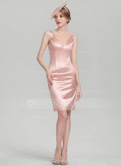Sheath/Column V-neck Knee-Length Charmeuse Mother of the Bride Dress - JJsHouse Elegant Dresses, Formal Dresses, Party Dresses, Glamour, Pink Outfits, Mother Of The Bride, Bodycon Dress, Satin, V Neck