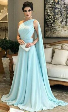 Light Blue Prom Dresses,One Shoulder Prom Dress,Chiffon Formal Prom Gown, Simple Bridesmaid Dresses Simple Bridesmaid Dresses, A Line Prom Dresses, Modest Dresses, Elegant Dresses, Pretty Dresses, Chiffon Dresses, Dress Prom, Prom Gowns, Blue Evening Dresses