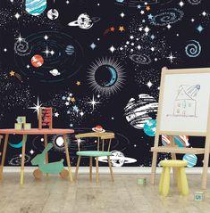 Space Galaxy Nursery Printable Set Kids Decor Art Sun Nursery Printables Mint Yellow Aqua Planet Gallery Wall Moon INSTANT DOWNLOAD