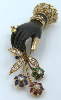 Nardi Venice Emerald Ruby Sapphire Diamond Gold Nosegay- in- Hand Brooch image 2