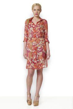 ΛΟΥΛΟΥΔΑΤΟ ΣΕΜΙΖΙΕ ΠΟΡΤΟΚΑΛΙ Υπέροχο μεταξωτό λουλουδάτο πουκαμισοφόρεμα σε πορτοκαλί χρώμα με μακρύ μανίκι. Couture, Dresses, Vestidos, High Fashion, Dress, Gowns, Clothes, Gown, The Dress