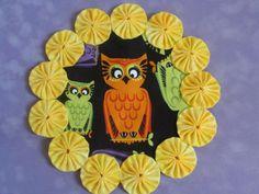 Cute Orange Owl  yo yo doilypenny rug style candle by SursyShop, $8.00