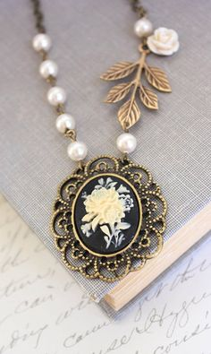 Flower Cameo Necklace Black Cameo Pendant Ivory Cream Rose Necklace Branch…
