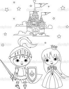 Coloriage coloriage chateau fort pinterest search - Dessin chateau princesse ...