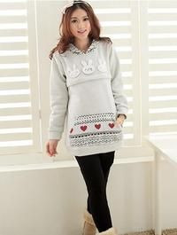 Grey Cute Rabbits and Hearts Asian Fall Collection Long Hooded Blouse Like