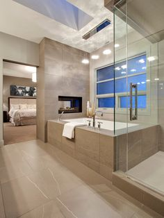 , Comely Ideas From Contemporary Bathroom Designers Also Modern Bathtub Design With Brown Marble Tiling Wall Also Modern Facuet And Mixer Tap Also Modern Glass Door Shower Also Adorable Modern Pendant Lights: Cool Minimalist Bathroom Designs for Small Spaces