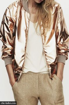 Gold Bomber Jacket. Metallic Outfit.