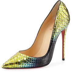 Christian Louboutin So Kate Python Mermaid Red Sole Pump ($1,495) ❤ liked on Polyvore featuring shoes, pumps, heels, christian louboutin, kengät, mimosa, red leather shoes, red shoes, red pointed-toe pumps and red pointy toe pumps