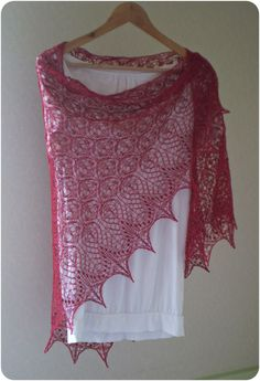Lady in Red hand knitted triangular lace shawl by KnitANDlace