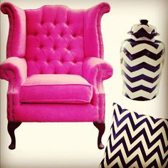 Pink wingback chair.