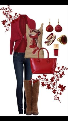 Women's fashion outfit tan & dark red