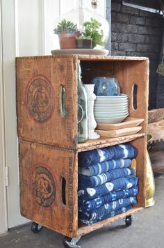 Thrifty storage from flea market crates on casters.                                                                                                                                                                                 More