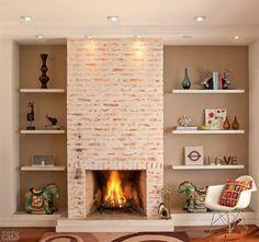 Caiação muda o visual de lareira de tijolos. Fotos publicadas na revista MINHA CASA.