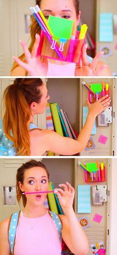 Keep Extra School Supplies | 15 DIY Locker Organization for School Girls