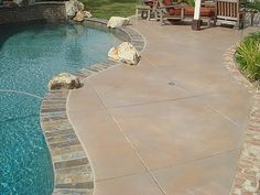 Rancho Santa Margarita pool deck acrylic stain.  Like the coping as well.  Important to keep concrete staining light. Painted Pool Deck, Pool Paint, Pool Coping, Concrete Staining, Stamped Concrete, Pool Decking Concrete, Pool Landscaping, Santa Margarita, Pool Ideas