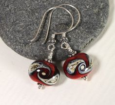 Red & Black Dangle Glass Earrings, Sterling Silver, Lampwork Jewelry, Glass Jewelry, Handmade, Christmas Jewelry, by MarianneDegener on Etsy