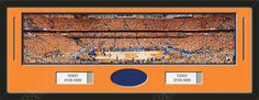 One framed large Syracuse University stadium panoramic with openings for one or two ticket stubs* and one or two 4 x 6 inch personal photos**, double matted in team colors to 39 x 13.5 in.  The lines show the bottom mat color.  $179.99 @ ArtandMore.com