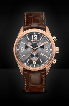 ADVOLAT VOYAGE Swiss Made Chronograph, Tachymeter, Stainless Steel Casing IP rose gold, Face gunmetal sunray, Leather Bracelet light brown, Ref. 88006/8RG-L5 Gold Face, Limited Edition Watches, Watches Online, Stainless Steel Case, Chronograph, Omega Watch, Rolex Watches, Rose Gold, Brown