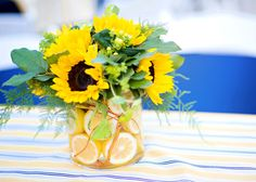 sunflower centerpiece with lemons Flour and Flower Designs Sunflower Table Arrangements, Sunflower Centerpieces, Table Flowers, Floral Arrangements, Sun Flowers, Lemon Centerpieces, Wedding Centerpieces, Wedding Table, Wedding Decorations