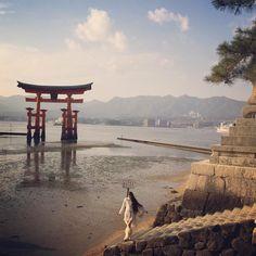 「宮島散歩*  潮の引いた厳島神社から眺める夕日は 言葉に表せないほど美しかったです*  素敵なお散歩をありがとうございました♪  #厳島神社 #宮島 #お散歩gram」