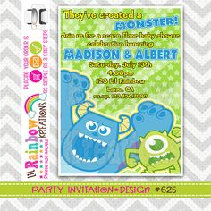 625 DIY Monsters Party Invitation Or Thank You by LilRbwKreations
