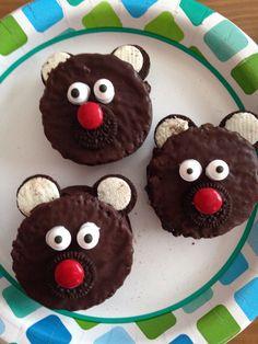 Bear Cake - made from ding dongs and mini oreos - Brave Movie Night Food - Disney Movie Night - Family Movie Night
