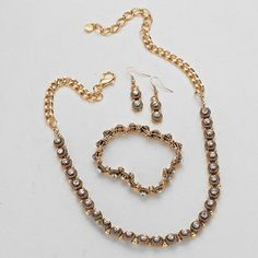 Antique Gold and Crystal 3 Piece Necklace and Bracelet Set
