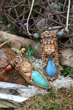 Polymer Clay Art, Polymer Clay Jewelry, Earth Spirit, Wild Spirit, Precious Metal Clay, Clay Design, African Jewelry, Sculpture Clay, Stones And Crystals