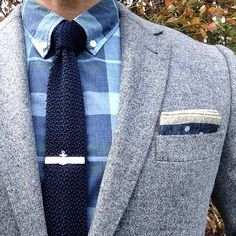 It's all about the details. Love the hanky and tie bar in this outft. And the textures are great!