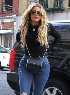 Black Leather Bags Dominate This Week's Celebrity Handbag Round-up - Page 5 of 9 Khloe-Kardashian-Givenchy-Mini-Pandora-Box-Bag Khloe Kardashian Outfits, Kylie Jenner Outfits, Koko Kardashian, Estilo Kardashian, Kardashian Fashion, Style Outfits, Curvy Outfits, Fashion Outfits, Tommy Hilfiger Shorts