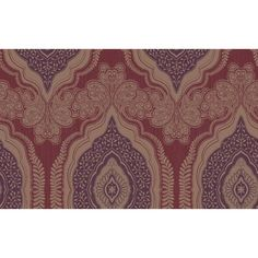 Sample Medina Paisley Wallpaper in Metallic, Purples, and Reds design... ($10) ❤ liked on Polyvore featuring home, home decor, wallpaper, wallpaper samples, purple wallpaper, metallic wallpaper, paisley home decor, red home decor and purple home accessories