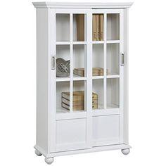 Altra Arron Lane Enclosed Bookcase with Sliding Glass Doors, White