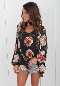 Chocker V Neck Floral Print Top Blouse Long Sleeve Loose Casual Shirt,Unleash your inner fashionista with the hottest new women