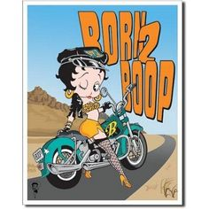 Betty Boop Born 2 Boop Motorcycle Retro Vintage Tin Sign
