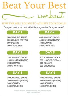 Beat Your Best Workout Printable - Beat your impossible with this 6-day progressive workout that will challenge your body and jump start your fitness.