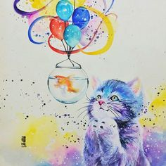 @jongkie via IG Cat and goldfish bowl with balloons-Love the Cat's face!♥♥