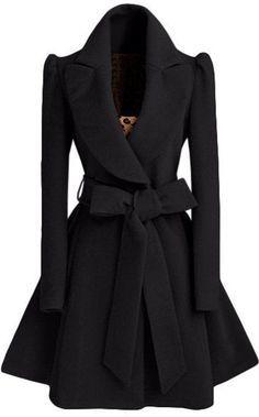 Black Plain Bow Single Breasted Fashion Wool Coat