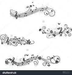 Music set of design elements. You could find more music here: Music set of design elements. You could find more music here: Music Tattoo Designs, Music Tattoos, Body Art Tattoos, Tatoos, Image Tatoo, Music Notes Art, Song Notes, Dibujos Tattoo, Silhouette Tattoos