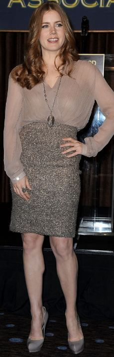 Who made Amy Adams' nude top, sequin skirt, pumps and jewelry that she wore in Beverly Hills on November 9, 2011?