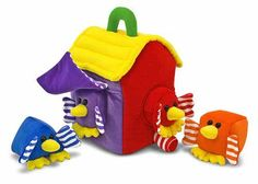 "Bird House Shape Sorter: Every side of this peek-a-boo birdhouse features a window that is home to one of these velvety birds. With a bright yellow roof, brilliantly colored walls and a handle, this house is made of high quality soft fabric for fun at home or on the go. *Get your little ""birder"" jumpstarted"