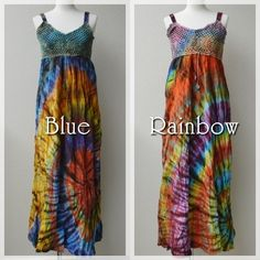 Tie-dye maxi dress -color Blue and Rainbow-  #fashionstore #doress #summer