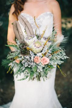 pastel wedding bouquet with proteas, succulents and feathers Gray Wedding Colors, Floral Wedding, Wedding Bouquets, Wedding Flowers, Wedding Bells, Creative Wedding Inspiration, Our Wedding Day, Wedding Stuff, Gray Weddings