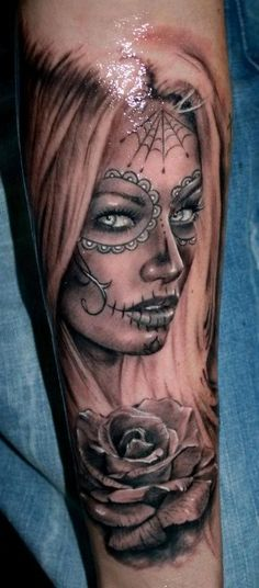 Day of the dead tattoo I like it but prefer darker hair and less white accents, they won't be there 6-12 mo down the road