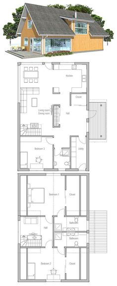 Affordable home plan with three bedrooms and thee bathrooms. Spacious living & dining & kitchen.